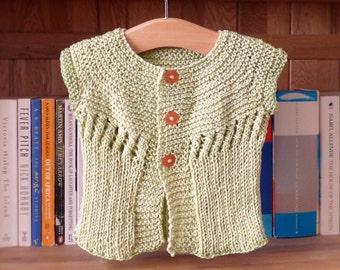 Knitting Pattern Cardigan Sweater -  Erin Seamless Summer Top Down Yoked Cardi  (5 Sizes, 0 - 5 yrs)
