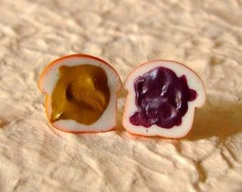 Peanut Butter and Jelly Earrings - A Little PB&J Snack... Grape Peanut Butter and Jelly Studs - Miniature Food Jewelry - Best Friend Gift