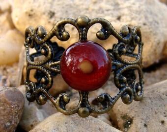 Mustard Seed Ring - Antique Brass Filigree Adjustable Ring - Adjustable Mustard Seed Ring - Mustard Seed Jewelry - Metallic Red Brass Ring