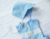 Baby Boys Blue Sun Bonnet - solid blue to match Easter outfits