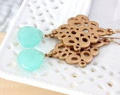 SALE * MInt Chalcedony earrings - rich color -gold accent frame
