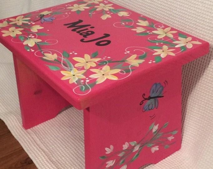 Whimsical Painted Furniture, Painted Step Stool // Child's Step Stool // Custom Youth Stool // Custom Painted Stool