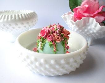 Vintage Fenton Milk Glass Hobnail Bowls Set of Three