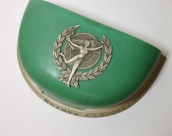 Beautiful Celluloid Watch Case, Watch Boc Bulova, Goddess of Time, Green and Ivory