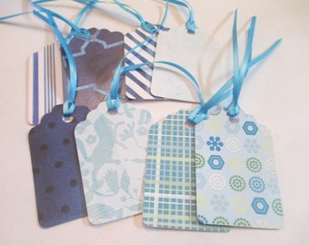 8 Blue Mixed Pattern Handmade Gift Tags Note Cards Hang Jenuine Crafts