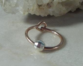 Hoop Earrings Pink Gold with Silver Mirror Cut SINGLE-  Beaded Hoop, Single Hoop, Tragus Hoop, Rook Hoop, Daith Hoop, Helix Hoop, Cartilage