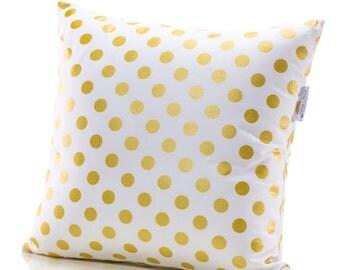 Throw Pillow, Accent Pillow, Home Decor Pillow, Gold Polka Dot Pillow, Gold and White 16x16 or 18x18