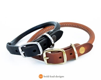 BLD's Rolled Leather Dog Collar - Premium quality in Tan