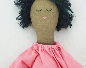 Sleeping doll in orange dress. Handcrafted Calliope Cloth Rag Doll Vintage Upcycled OOAK Vegan 18 inches