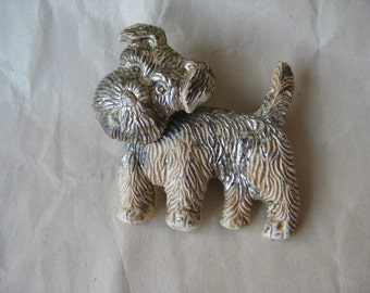 Shabby Terrier Dog Brooch Gold Off White Vintage Pin Plastic Movable Head Puppy