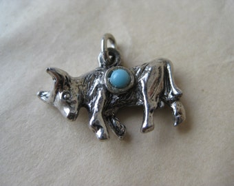 Cattle Bull Silver Turquoise Charm Vintage Southwest