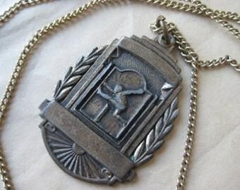 Shabby Track Hurdler Brass Necklace Vintage Pendant