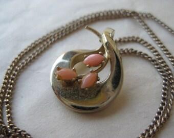 Coral Gold Filled Necklace Pendant Vintage Flower Salmon