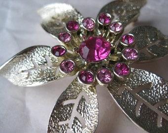 Flower Pink Rhinestone Brooch Gold Vintage Pin Sarah Coventry