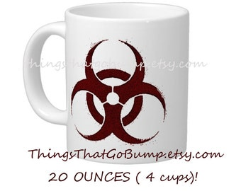 Personalized Custom 20 ounce ceramic jumbo mug hazardous symbol bio hazard symbol zombie mug zombies walking dead living dead horror custom