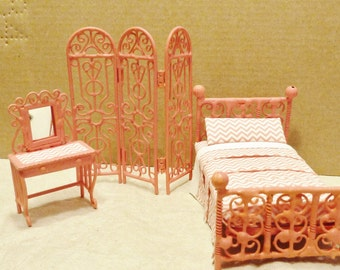 Half Scale Wrought Iron Look Bed, Screen, Dressing Table