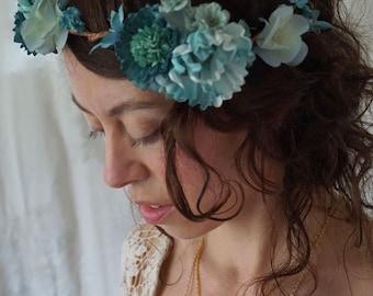 Uli Flower Crown... free size boho flower girl whimsical fairy country wedding woodland tea party hippie circlet bridesmaid formal festival