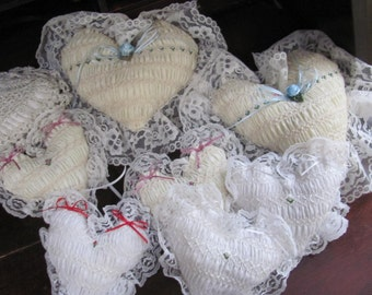 Set 8 Heart Pillows, Wedding Hearts, Small White Hearts and...