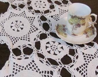 Wow...lowered Price...Heavier Vintage Crocheted Table Runner, Table Topper