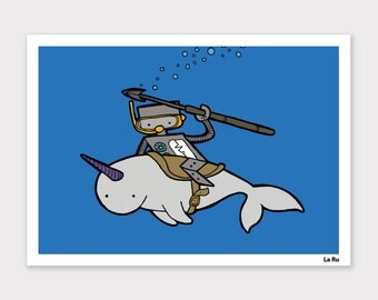 Robot riding Narwhal Print