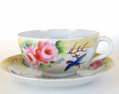 Vintage Japan Teacup and Saucer with Pink Roses and Bluebird