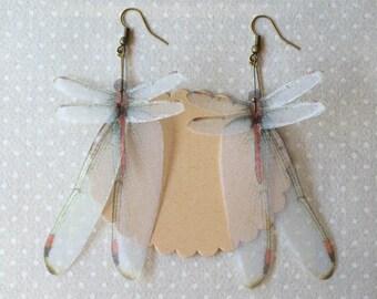 Wings - Handmade Red Dragonfly Silk Organza Earrings
