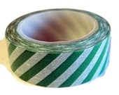 "Washi Tape Emerald Green White Sloped Stripes, 9/16"" x 10 yds, Scrap Booking, Packaging, Craft Supplies"