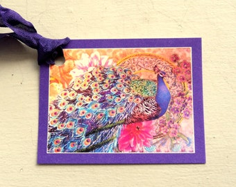 8 Gift Tags, Thank You,  Note, Merchandise Tags, Beautiful Purple Peacock Hang Tags