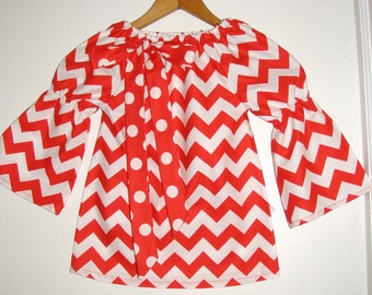 Girls top Red Chevron stripe   peasant tunic top long sleeves  size 2t,3t,4t,5t,6,7,8,10,