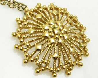 Large Atomic Pendant Long Vintage Monet Necklace Abstract Jewelry N7456