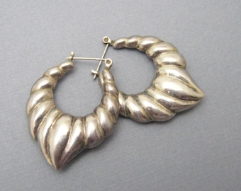 Large Sterling Shrimp Earrings Hoops E7089