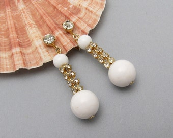 Long Rhinestone Earrings White Bead Drop Jewelry E7204