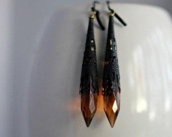 50% Off Amber and Black Crystal Earrings, Topaz Dangles, Black Filigree, Victorian, Noir, Gothic
