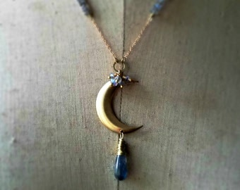 Luna Pendant - Crescent Moon, Labradorite, Gold Necklace, Celestial, Gemstone, Raw Brass, Wire Wrapped