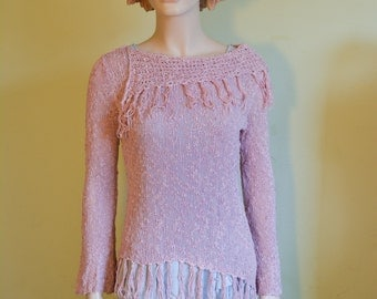 Cotton Rayon Knit Boho Spring Sweater Rose Pink with Fringes Summer Resort Weekend