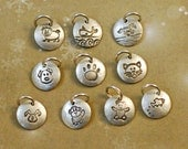 """3/8"""" Inch sterling silver disk, disc, round, charm, add on, small, paw print, bunny, horse, dog, cat, kitty, pig, fish, whale, animals"""