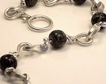 Handmade Sterling Silver and Snowflake Obsedian Bracelet/ Solid links/Horseshoe Bracelet/ Beaded Bracelet