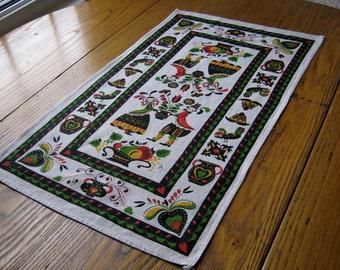 Vintage 1950's Pennsylvania Dutch Towel, Unused, Vintage Kitchen Towel, Pennsylvania Dutch, Vintage Linen, Kitchen Towel,  Tea Towel