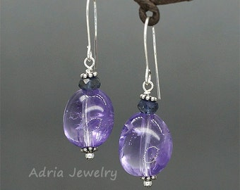 Purple Amethyst Earrings, Sterling Silver Earrings, Silver Amethyst Earrings, February birthstone,Violet Amethyst Gemstone Jewelry