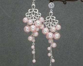 Pink Pearls Wedding Earrings Bridal Chandelier Earrings Bridesmaids Earrings Cluster Pearls Earrings Hochzeit Ohrringe Bridesmaids Jewelry