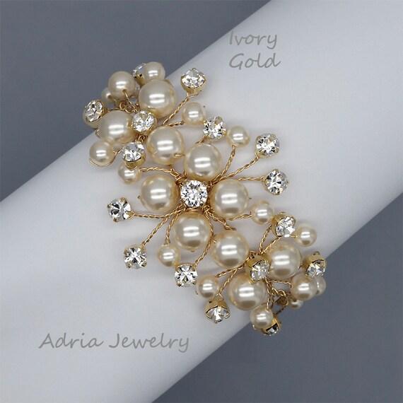 Wedding Bracelets Gold Bridal Bracelet, Rhinestone and Pearls Vine Bridal Jewellery, Wedding Jewelry for Brides, T1511301
