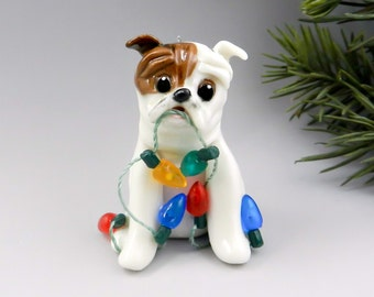 Bulldog Brindle White Christmas Ornament Figurine Lights Porcelain