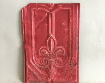 Antique Tin Ceiling Roof Tile 8.5 x 12.5 Watermelon Reclaimed Metal  141-16