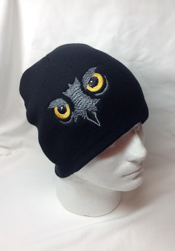 Night Owl Eyes Beanie Hat Bird of Prey Embroidered Cosplay Yellow Eyes Face