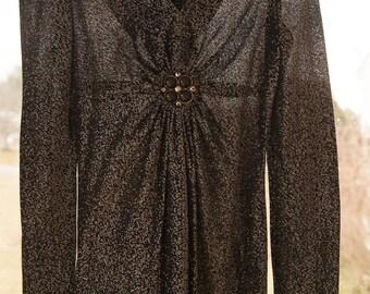 Vintage Gown - Bridesmaid Prom 70s Black Metallic Jewel V-neck