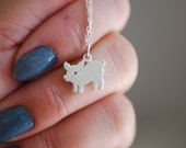 NEW - Little Piggy Necklace - Solid 925 Sterling Silver Silhouetted Pig Charm - Free Domestic Shipping