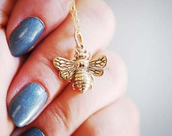 Honeybee Bumble Bee Necklace - Natural Bronze Auspicious Feng Shui Charm Pendant 14K Gold Filled Delicate Chain - Insurance Included