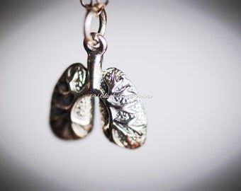 Lungs Necklace - Solid 925 Sterling Silver Anatomical Charm - Free Domestic Shipping