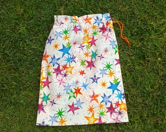 Sparkly stars gift bag, medium drawstring bag, kids cotton drawstring bag