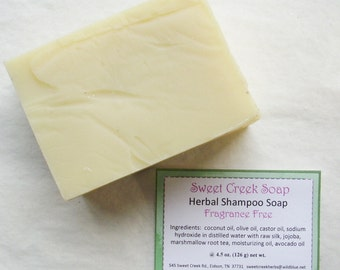 Silk Herbal Shampoo Soap, Marshmallow Fragrance Free